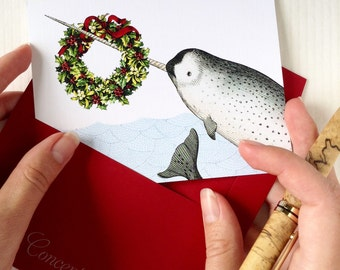 Narwhal Christmas Cards, Funny Christmas Cards, Nautical Holiday Card Set of 8