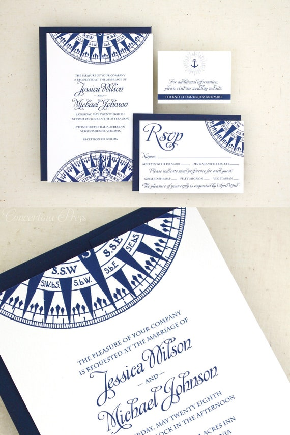 Nautical Wedding Invitations | Nautical Wedding Invitations Compass Wedding Invitation Set Etsy