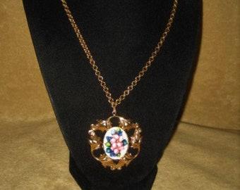 Handmade Decoupaged Pendant Necklace Floral Vintage