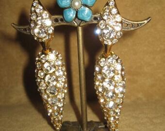 Rhinestone Dangle Teardrop Earrings Clip Vintage