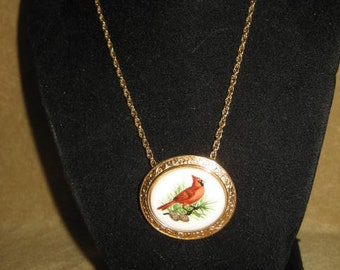 Avon Cardinal Pendant Necklace Brooch Vintage