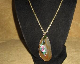 Agate Pendant Necklace Floral Design Handmade Vintage