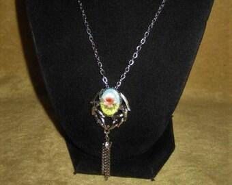 Necklace & Brooch with Porcelain Rose Cabochon Vintage