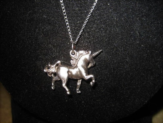60s Unicorn Sterling Pendant Fairycore Necklace - image 2