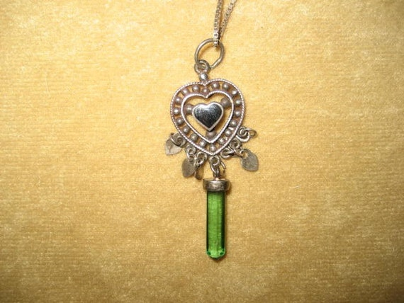 Sterling Crystal Pendant Heart Necklace Fairycore… - image 2