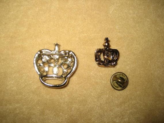 Vintage Crown Rhinestone Brooch Earrings & Tac Pi… - image 3