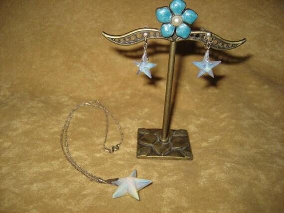 Opalite Star Swarovski Pendant Sterling Necklace … - image 2