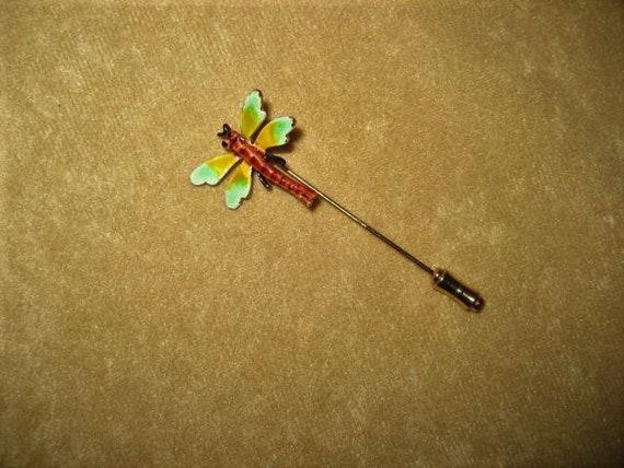 Enamel Dragonfly Stick Pin Fairycore Vintage - image 1