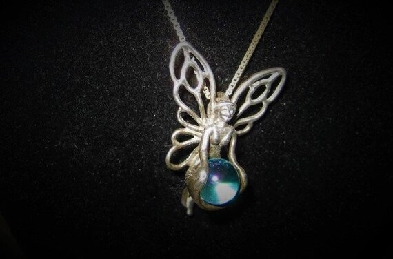 Aqua Aura Sterling Fairy Pendant Fairycore Neckla… - image 3