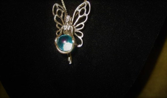 Aqua Aura Sterling Fairy Pendant Fairycore Neckla… - image 4