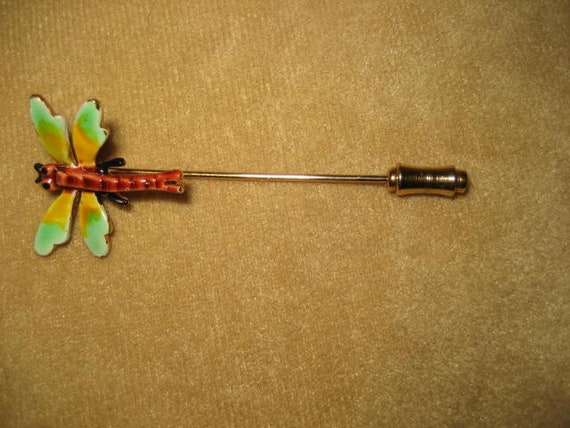 Enamel Dragonfly Stick Pin Fairycore Vintage - image 3