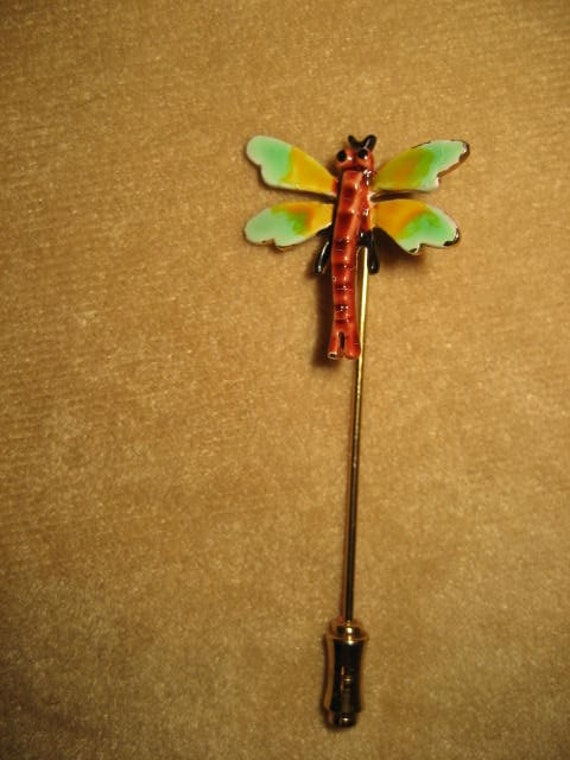Enamel Dragonfly Stick Pin Fairycore Vintage - image 4