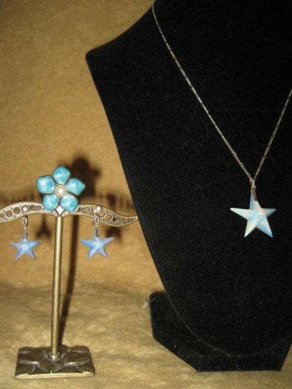 Opalite Star Swarovski Pendant Sterling Necklace &