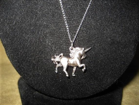 60s Unicorn Sterling Pendant Fairycore Necklace - image 4