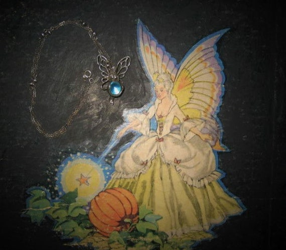 Aqua Aura Sterling Fairy Pendant Fairycore Neckla… - image 1