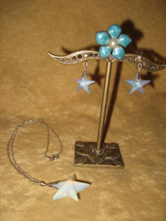Opalite Star Swarovski Pendant Sterling Necklace … - image 9