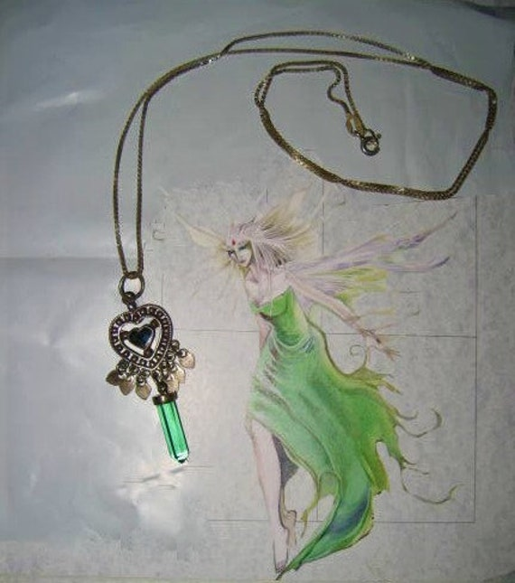 Sterling Crystal Pendant Heart Necklace Fairycore… - image 1