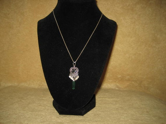 Sterling Crystal Pendant Heart Necklace Fairycore… - image 7