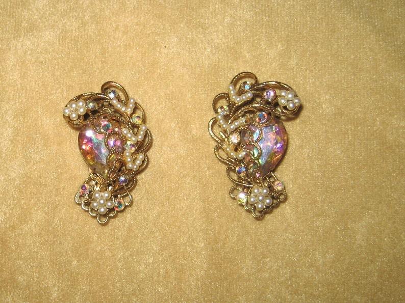 Vintage Hand Wired Pearl and Aurora Borealis Rhinestone Filigree Earrings