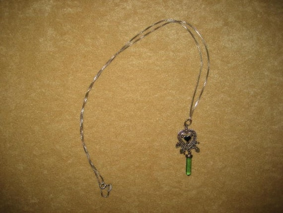 Sterling Crystal Pendant Heart Necklace Fairycore… - image 6