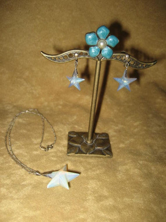 Opalite Star Swarovski Pendant Sterling Necklace … - image 8