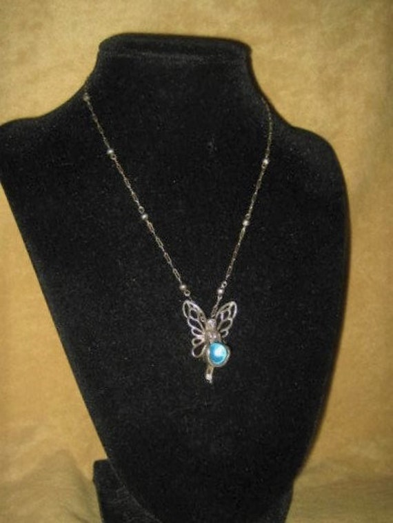 Aqua Aura Sterling Fairy Pendant Fairycore Neckla… - image 5