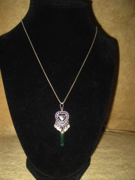 Sterling Crystal Pendant Heart Necklace Fairycore… - image 3