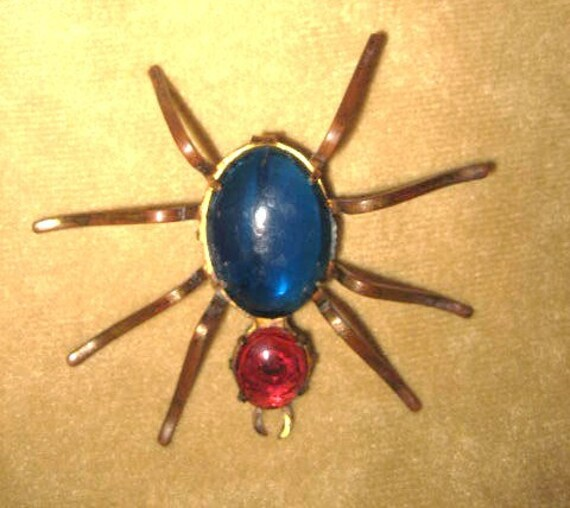 Spider Pin Brooch Jelly Blue and Red 40s Vintage