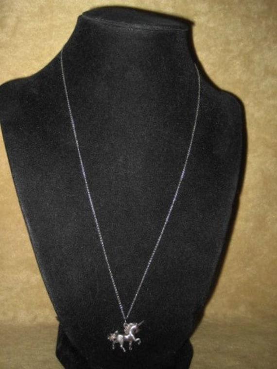 60s Unicorn Sterling Pendant Fairycore Necklace - image 1