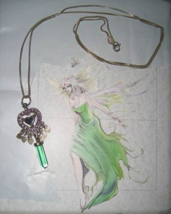 Sterling Crystal Pendant Heart Necklace Fairycore… - image 8