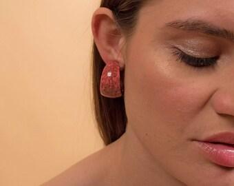 80s Wide Hoop Earrings / Vintage 80s Earrings / Marbled Hoop Earrings / Statement Earrings / Costume Jewelry