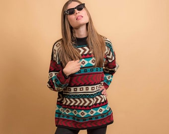 Vintage Southwestern Sweater / Tribal Sweater / Oversized Sweater / Boho Sweater / 80s Sweater Δ fits sizes: S/M/L