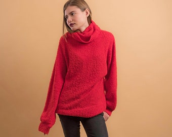 80s Oversized Sweater / Nubby Sweater / Slouchy Sweater / Boyfriend Sweater / Turtle Neck Sweater Δ fits sizes: S/M/L