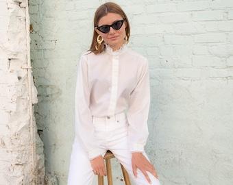 Ruffle Lace Blouse / Romantic Blouse / Vintage 70s Blouse / Boho Blouse / White Blouse Δ fits sizes: S/M/L