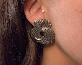 Statement Earrings / Oversized Abstract Earrings / 80s Sculptural Earrings / Costume Jewelry / Fashion Earrings