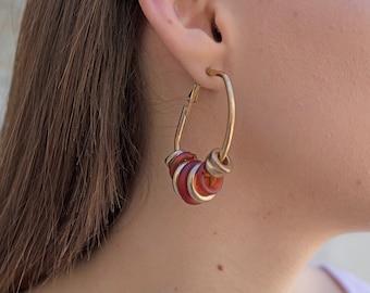 80s Beaded Hoop Earrings / Dangle Hoop Earrings / Vintage 80s Earrings / Dead-Stock Earrings / Vintage Earrings / Costume Jewelry