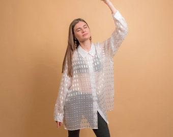Vintage Oversized Sheer Blouse / Vintage 90s Shirt / Boxy Blouse / Button Down Blouse Δ fit sizes: S/M/L/XL
