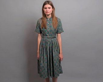 Vintage 50s Shirt Dress / Floral Summer Dress / Full Skirt Dress / 1950s Cotton Dress Δ size: S