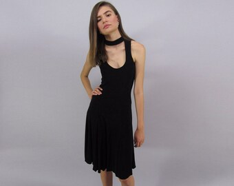 Minimalist Black Dress / Vintage 90s Cut-Out Dress / Black Jersey Dress / LBD Δ size: M/L