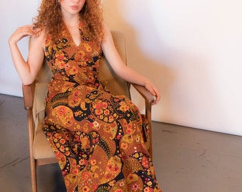 60s Psychedelic Floral-Paisley Halter Maxi Dress size S/M