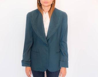80s Soutache Wool Shawl Collar Wool Blazer size S/M