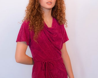 70s Cowl-Neck Terry Cloth Dress size XS/S