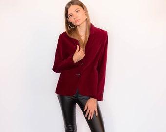 Vintage 70s Burgundy Velvet Blazer fits sizes XS/S/M