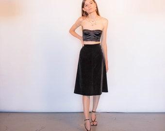 1940s High-Waisted A-line Black Velvet Skirt size XS