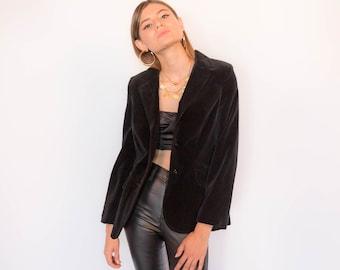 70s Black Velvet Tuxedo Blazer size XS/S