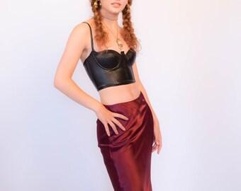 90s Satin Slip Midi Skirt size M
