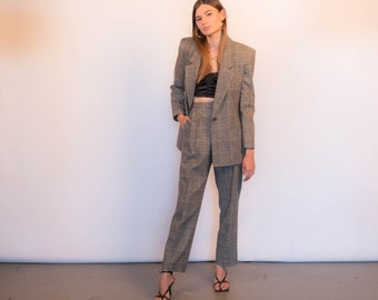 80s 3 Piece Pant and Skirt Plaid Wool Suit size S