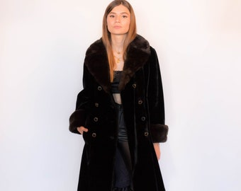 60s Mod Faux Fur Double-Breasted Coat fits sizes XS/S/M