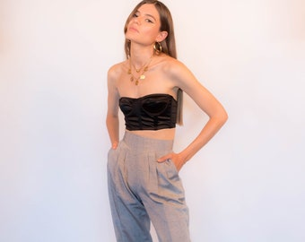 80s High-Waisted Pleated Speckled Trousers size S