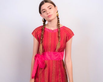 Vintage 60s Hawaiian Tribal Print Dress size M